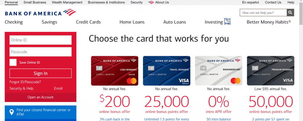 Bank Of America Official Site Online Banking Www Bankofamerica Com Bofa Website